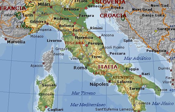 Mapa de Italia con ciudades turísticas