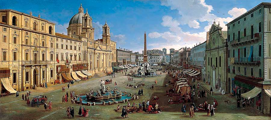 plaza navona de roma en 1699
