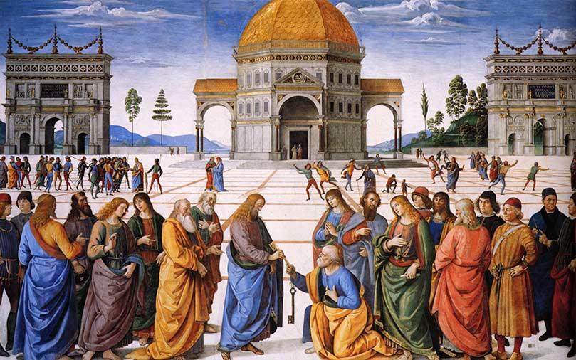 Entrega de las llaves a San Pedro de Pietro Perugino.